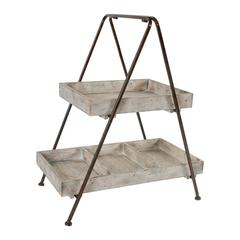 Traditional Style Wood And Metal 2-Tier Organizer Shelf, Brown