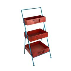 Solid Metal 3 Tier Tray Stand, Red And Blue
