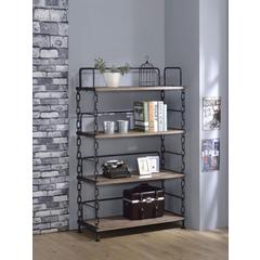 Industrial Looking Bookshelf, Rustic Oak & Antique Black