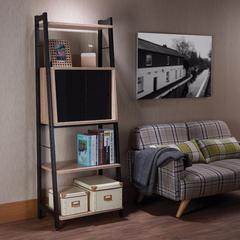 Wooden Leaning Bookshelf, Light Oak & Black
