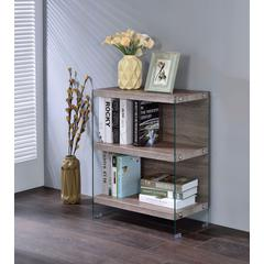 Spacious Bookshelf, Clear Glass & Light Brown