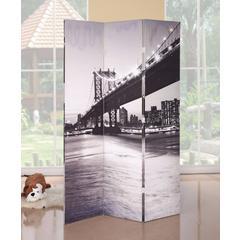 3-Panel Wooden Screen, Bridge Scenery, Black and White