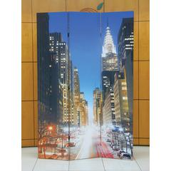 3-Panel Wooden Screen, Town Scenery, Multicolor