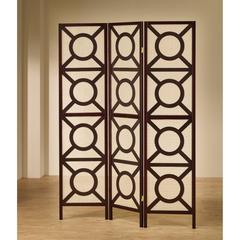 Modern Circle Patterned Wooden Folding Screen, Brown