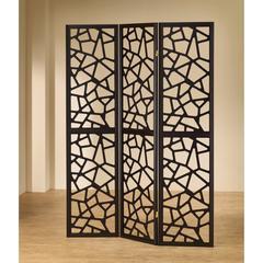 Intricate Mosaic Cutouts Folding Screen, Black