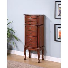 Traditional Jewelry Armoire with Antiqued Hardware, Brown