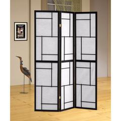 Stylish 3 Panel Wooden Folding Screen, Black