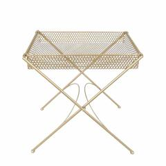 Magnificent Cross Leg Accent Table With Tray Top, Gold