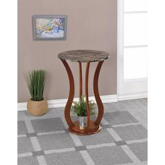 Transitional Wooden Plant Stand With Faux Marble Top, Brown