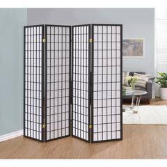 Sophisticated Four Panel Folding Screen, Gray