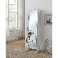 Enchanting Jewelry Cheval Mirror With Interior Storage, Silver
