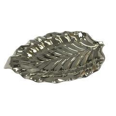 Patently Designer Decorative Ceramic Leaf Tray, Silver