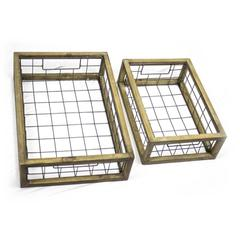 Distinctively Classy Set of 2 Metal and Wood Trays, Brown