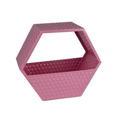 Functionally decorous Metal Wall Basket, Pink