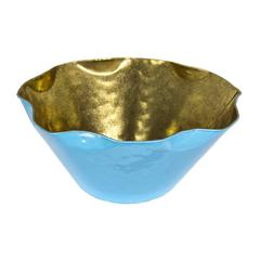 Ideally Unique Metal Decorative Bowl, Blue and Gold