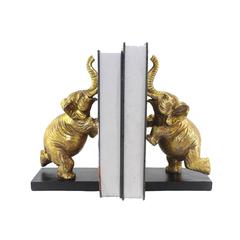 Elegant Polyresin Elephant Bookends, Gold, Set Of 2