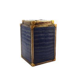 Enchanting Polyresin Alligator Skin Box, Dark Blue