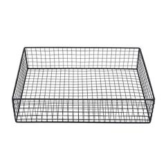 Spacious Wire Mesh Metal Paper Tray, Black