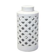 Ceramic Basket Weave Canister, White
