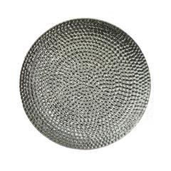 Elegantly Decorative Ceramic Hammered Plate, Silver