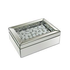 Exquisite  Decorative Wood And Mirror Storage Box, Silver
