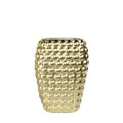 Striking Decorative Ceramic Vase With Dots, Gold
