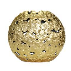 Elegantly Captivated  Ceramic Floral Motif Vase, Gold