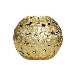 Adorning  Ceramic Floral Motif Vase, Gold