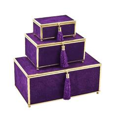 Beautiful Velveteen Storage Boxes With Tassel, Purple Set Of 3