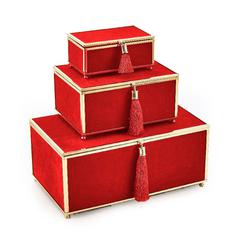 Gorgeous  Red Set Of 3 Velveteen Storage Boxes With Tassel