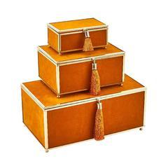 Alluring Set Of 3 Velveteen Storage Boxes With Tassel , Orange