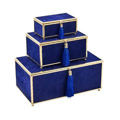 Magnificent Set Of 3 Velveteen Storage Boxes With Tassel , Blue