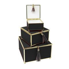 Splendid Black Set Of 3 Storage Boxes With Tassel