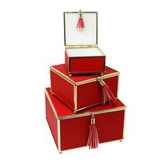 Impressive Red Set Of 3 Storage Boxes With Tassel