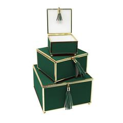 Exceptional Green Set Of 3 Storage Boxes With Tassel