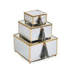 Phenomenal  Set Of 3 Storage Boxes With Tassel , Silver And Gold