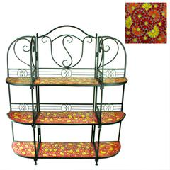 Excellent 3Tiers Metal Planter Stand   With Mosaic Pattern, Red
