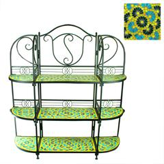 Elegant And Stylish 3Tiers Metal Planter Stand With Mosaic Pattern, Blue And Yellow