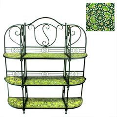 Well-Made 3Tiers Metal Planter Stand With Mosaic Pattern, Green And Yellow