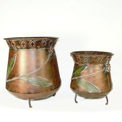 Antique Style 2 Piece Metal Planter, Copper