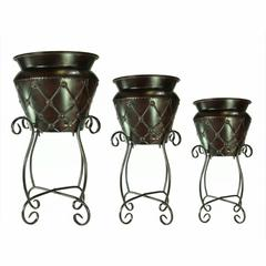 Traditional Dimond Patterned 3Piece Metal Planter, Brown