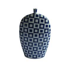 Embossed Decorative Ceramic Vase, Blue And  White
