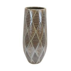Rustic Textured Decorative Ceramic Vase, Brown