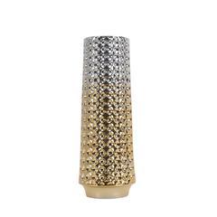 Dazzling Decorative Ceramic Vase, Silver And Gold
