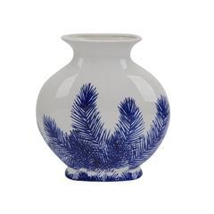 Beautifully Designed Ceramic Fern Vase, Blue And  White