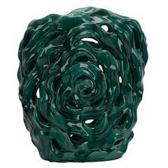Vivid Refluent Decorative Ceramic Abstract Vase, Green