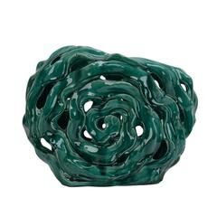 Artistically Designed Ceramic Abstract Vase, Green