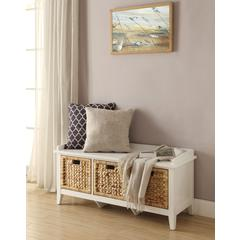 Rectangular Wooden Bench with Storage Basket, White