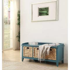 Rectangular Wooden Bench with Storage Basket, Blue