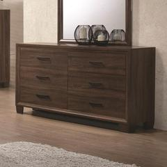 Six Drawer Dresser, Medium Warm Brown.